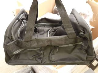 Olympia luggage 22  8 Pocket Rolling Duffel Bag Black   Gray