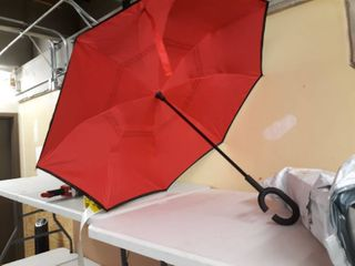 Double layer Inverted Straight Umbrella Red