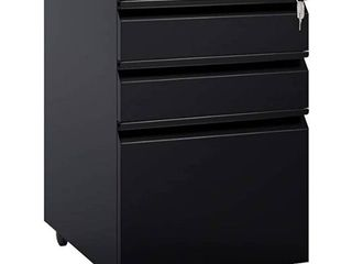 Tec Mobel Steel File Cabinet 3 Drawers With lock Office home Black W  Wheels