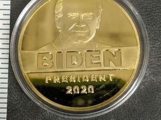 Biden goldtone coin