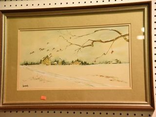 Lot #2869 - Watercolor painting of geese flying