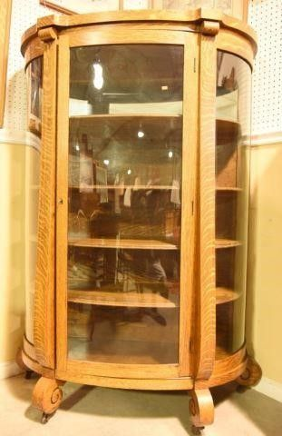Lot #2874 - Antique Victorian oak bow front