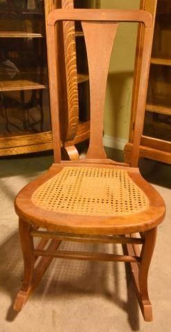 Lot #2879 - Antique ?T? back rocking chair with