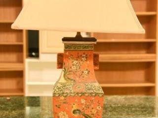 Lot #2894 - Chinese porcelain lamp. Stands 31