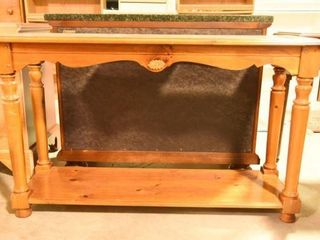 Lot #2895 - Glass top pine console table.