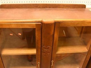 Lot #2866 - Art Deco china cabinet with flower