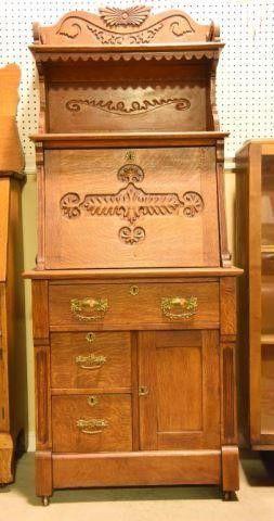 Lot #2868 - Antique Victorian carved oak Gothic
