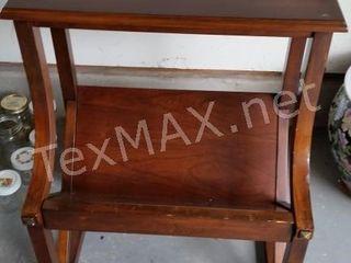 Vintage Wood Table with Magazine Holder