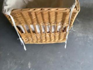 Rolling Wicker Laundry Basket