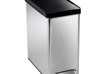 (3) simplehuman 10-Liter Brushed Stainless Steel Slim Profile Step-On Trash Can with Black Plastic Lid