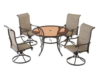 Riverbrook Espresso Brown 4-Piece Steel Outdoor Patio Padded Swivel Sling Chairs