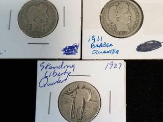 3 US SILVER QUARTERS 1908-O 1911 BARBER 1927 STANDING LIBERTY