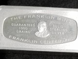FNB BANK OF SANTE FE 1000 GRAINS (2.08 TROY OZ) .925 STERLING SILVER ART BAR