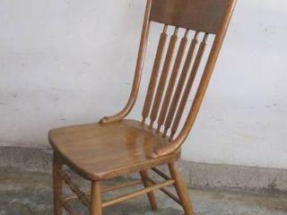 Vintage wood desk   kitchen chair