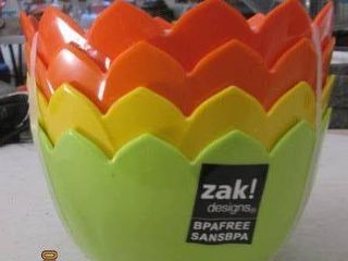 Set of 4 new Zak designs salad bowls