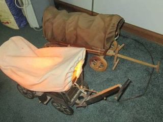 2 Vintage covered wagons one is a lamp about 7  wide X 16  long
