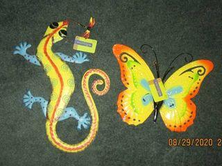 new metal lizard and butterfly garden animals