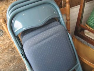 4 Blue Metal Folding Chairs