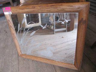 Oak wood frame mirror 24 W x 20 H
