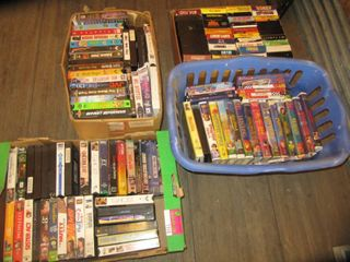 4 boxes of VHS tapes