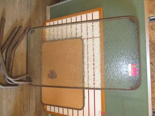 outdoor glass table with legs needs legs reattached approx 2  x 4