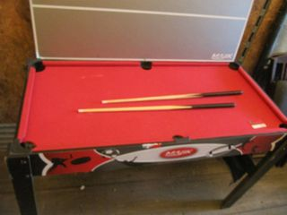 kids pool table with 2 cue sticks