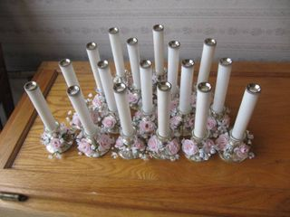 17 7  tall candle holders trimmed with pink roses