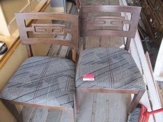 2 Oriental chairs with upolstered seats