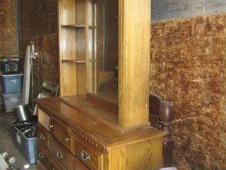oak dresser and lighter mirror