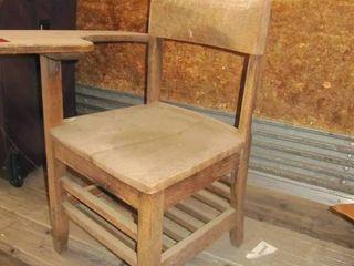 old all wood school desk chair