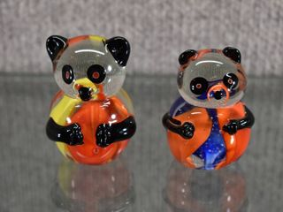 Set of 2 Art Glass Bears   Made in China   2 1 2
