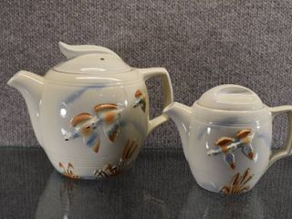 Vintage Porcelier China Teapot and Coffee Pot   Ducks and Cattails Design   Coffee 7  Teapot 5