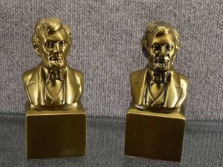 Set of 2 Vintage Abraham lincoln Brass Bookends Philadelphia Mfg    Very Heavy   6
