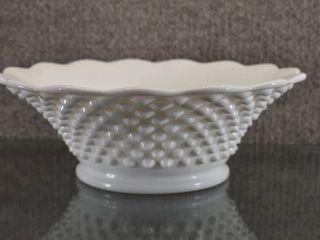 Vintage Milk Glass Hobnail Bowl   9