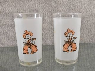 Set of 2 Oklahoma State Frosted Drinking Glasses   4 3 4  Tall