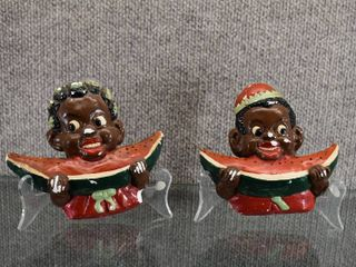 Vintage Black Americana Boy and Girl Chalkware   Pegs on Bottom Missing    5