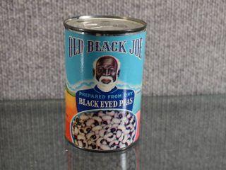 Vintage Black Americana Old Black Joe Black Eyed Peas Can Bank w Key   4 1 2