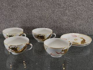Vintage Dragonware 3 Cups and 2 Saucers   Geisha Girl In Bottom of Each Cup