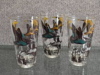 Set of 3 Vintage MCM Flying Geese Tumbler   Great for the Hunter in your life    5