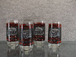Set of 4 Coca Cola Stained Glass Tumbler   Great for Coke Collector   6