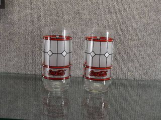 Set of 2 Coca Cola Stained Glass Tumbler   Great for Coke Collector   6