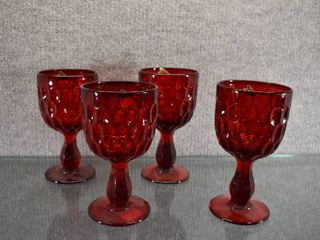 Set of 4 Vintage Fenton Thumbprint Water Goblet   Ruby Red   6 1 2  Tall