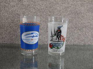Set of 2 Kentucky Derby Tumblers 1990  2010   Churchill Downs louisville Kentucky   5 1 4  Tall