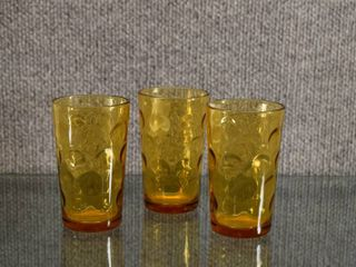 Set of 3 Inverted Coin Dot Amber Juice Glass   4  Tall
