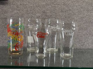 lot of 5 Various Coca Cola Glasses and Tumbler   Great for any Coke Collector