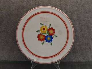 Vintage lazy Susan Spinning Cake Plate   Blue  Red    Yellow Flowers   11 1 2  Round