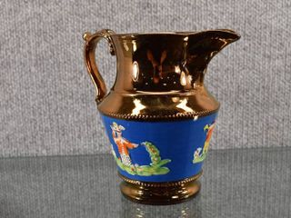 Vintage lustreware Asian Pitcher   6 1 2  Tall