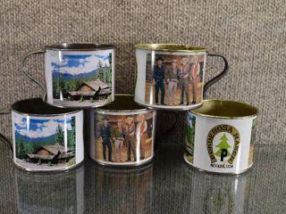 Set of 5 Ponderosa Ranch Tin Cups Bonanza TV Show   Replica of Tin Coffee Cups   2 1 2  Tall