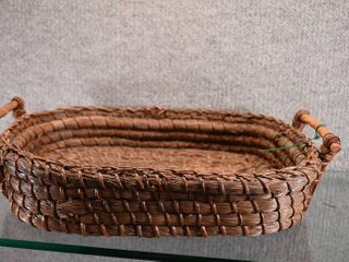 Vintage Authentic Handmade Native American Handled Basket Pine Needles   Coiled Pine Needles   lot 3 of 3   16  x 12