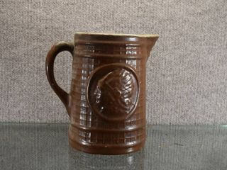Vintage Stoneware Indian Head Pitcher   8 1 4  Tall